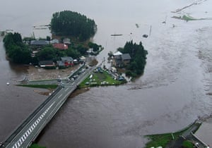 Floods in Japan: Flooded farms lands and roads in Fukuoka prefecture
