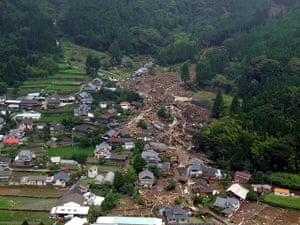 Floods in Japan: A mudslide caused by heavy rain, in Aso city, Kumamoto prefecture