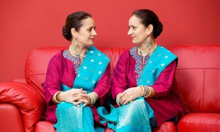 Identical twins in saris