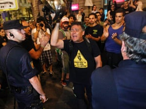 A fireman protests against the recent austerity measures announced by the Spanish government in Madrid, Spain, on Monday, July 16, 2012.
