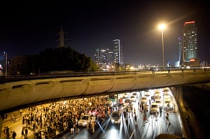Tel Aviv protests: Protesters block a highway