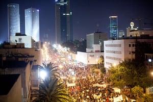 Tel Aviv protests: Demonstrators march in the streets of Tel Aviv