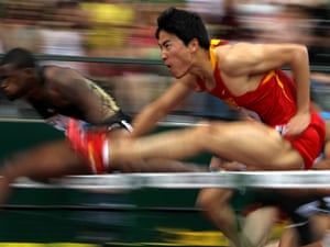 Chinese athlete Liu Xiang as proved as quick at fleeing poor weather as he is over the hurdles. (Photo by Jonathan Ferrey/Getty Images)