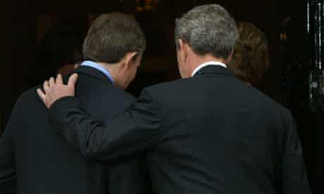 George Bush and Tony Blair enter Downing Street