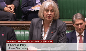 Home secretary, Theresa May, in the House of Commons
