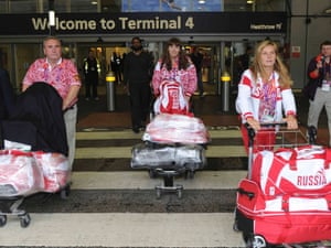 The Russian sailing squad arrive at Heathrow, along with 335 athletes with roughly three items of baggage each (Reuters/Paul Hackett)