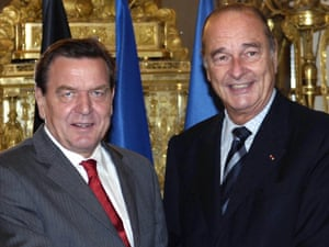German Chancellor Gerhard Schroeder and French President Jacques Chirac, in 2005.