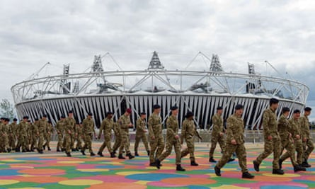 Soldiers are shown around the Olympic Park