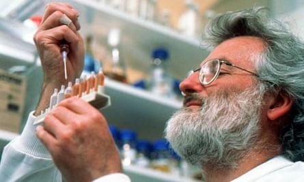 Dr John Sulston, director of the Sanger Centre, at his laboratory in Hinxton, Cambridgshire