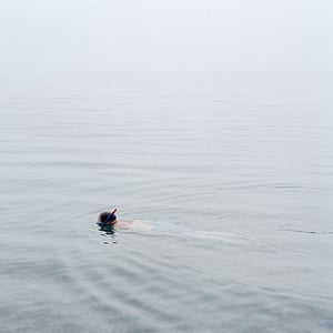 RPS print exhibition: Snorkeler. This photograph is of a man snorkeling off the isle of Portland