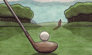 Clifford Harper illustration of a golf club and ball