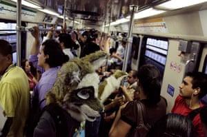 Furros Nuevo Leon: Yote, dressed as a wolf, takes the metro to the university in Monterrey