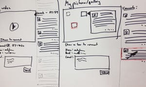 A wireframe sketch for an enhancement to commenting
