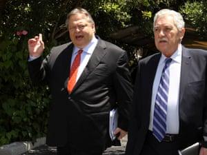 Evangelos Venizelos and Fotis Kouvelis in Athens, 18 July 2012.
