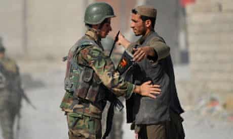 Afghan soldier on security patrol in Helmand.