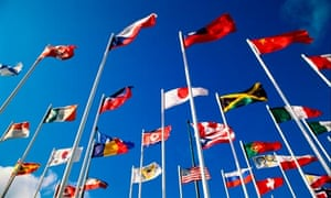 Various national flags flying