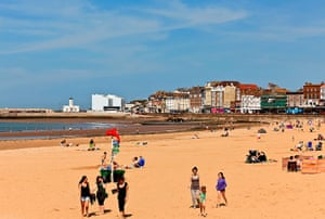 Margate torch relay: Beach, Margate, Kent, UK