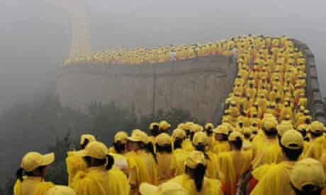 Chinese volunteers on Great Wall of China for Beijing Olympics
