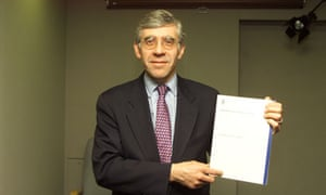 Jack Straw with a copy of the freedom of information bill