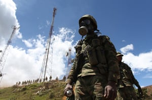 Civil unrest in Colombia: Colombian soldiers guard communication towers
