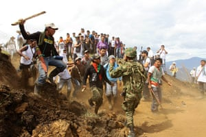 Civil unrest in Colombia: Nasa Indians charge on a soldier in Toribio, southern Colombia