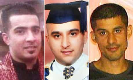 Haroon Jahan, Shazad Ali and Abdul Musavir who died during the Birmingham riots