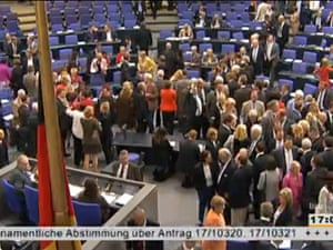 MPs voting in the Bundestag