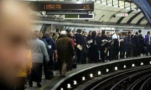 Crowd on tube station platform