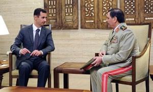 The Syrian president, Bashar al-Assad, meets General Fahad Jassim al-Freij