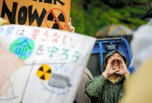 Japan nuclear protests: An anti-nuclear protester shouts during the demonstration