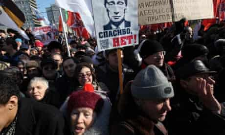 Anti-Putin protesters in Moscow in March