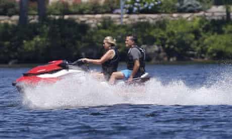 Ann and Mitt Romney on a jet-ski
