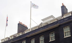The Olympic flag flying over 10 Downing Street on 20 July 2012.