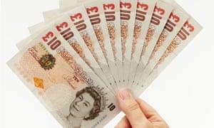 Fan of ten pound notes