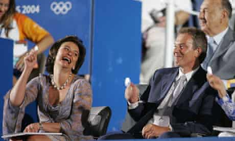 Cherie Blair and her husband Tony get in the Olympic spirit