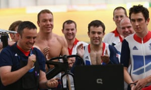 Chris Hoy and other Team GB cyclists watch the Tour de France on 22 July 2012.