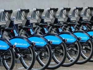 The London cycle hire scheme. Photograph: Julian Makey/Rex Features