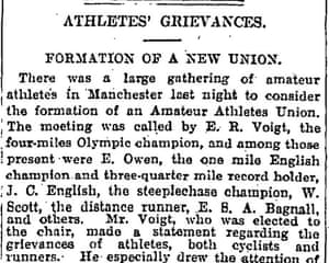 Guardian article on foundation of AAU by Emil Voigt in 1910
