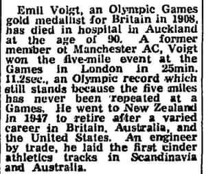 Guardian report of Emil Voigt's death in 1973