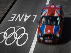 A taxi passes alongside one of the official Olympic Lanes on a street in central London on 23 July 2012. Photograph: Ben Curtis/AP