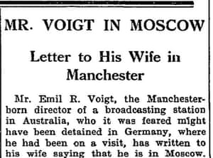 Guardian article on Emil Voigt in 1935