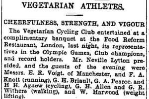Guardian article on vegetarian athletes 1909
