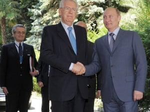 Russian president Vladimir Putin (right) and Italian prime minister Mario Monti (left) meet in Sochi, Russia. Photo: Epa/Alexey Druzhinyn/Ria Novosti