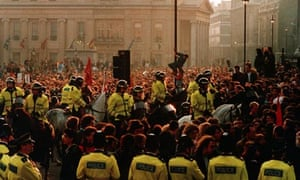 A protest in Trafalgar Square in 1990 against the poll tax
