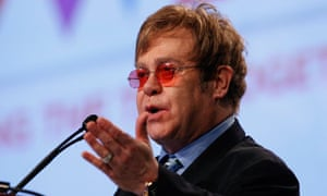 Elton John delivers his speech at the International Aids Conference in Washington DC