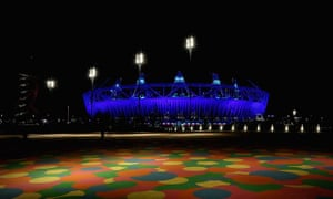 The Olympic Stadium during the rehearsal for the opening ceremony on 23 July 2012.