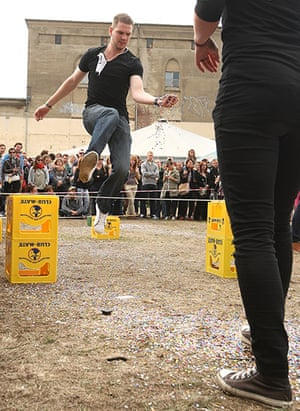 Hipster Olympics: Contestants compete in the Confetti Toss event
