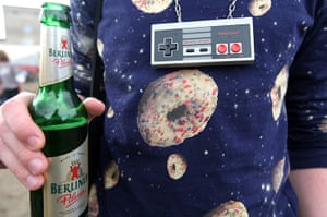 Hipster Olympics: An attendee wearing a 1980s Nintendo controller as a necklace