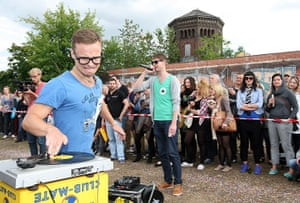 Hipster Olympics: A contestant competes in the Vinyl Record Spinning Contest