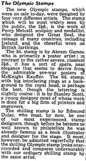 Guardian article on 1948 Olympic stamps